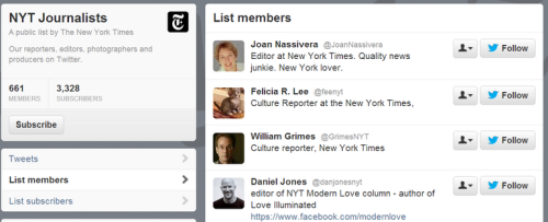 New York Times journalists on twitter