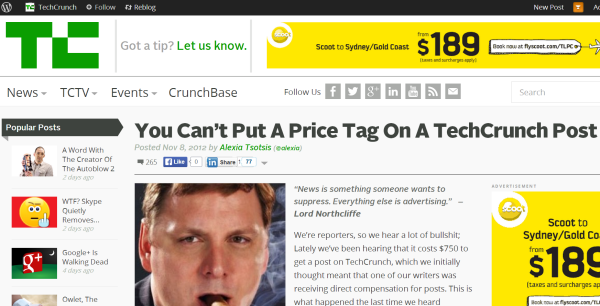 techcrunch you can't put a price tag on a techcrunch article